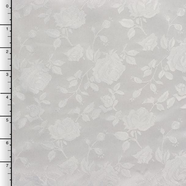 White on White Rose Brocade