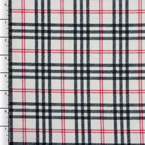 Black, White, and Red Plaid Moleskin Suede Fabric
