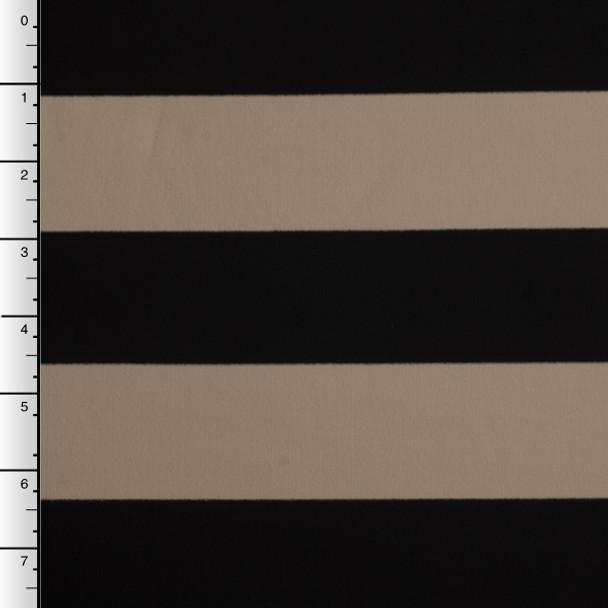Heavyweight Tan and Black Striped 4-Way Stretch Poly/Rayon/Lycra Knit