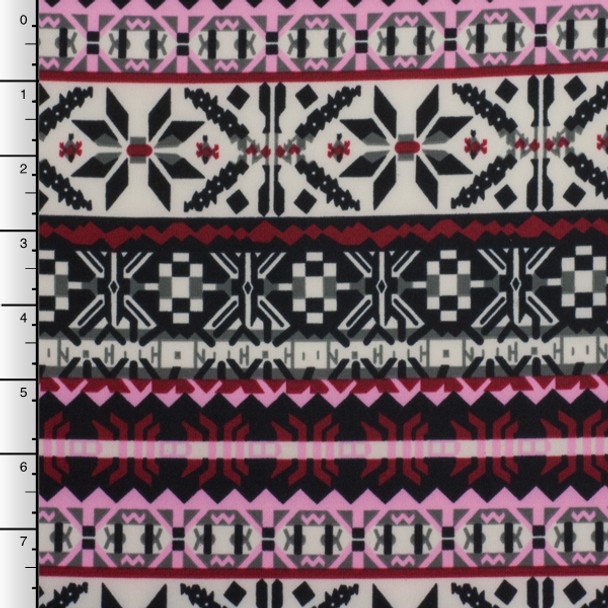 Pink, Burgundy, and Ivory Winter Tribal Scuba Knit