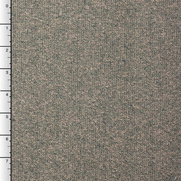 Olive and Tan Mottled Sweater Knit Sweatshirt Fleece