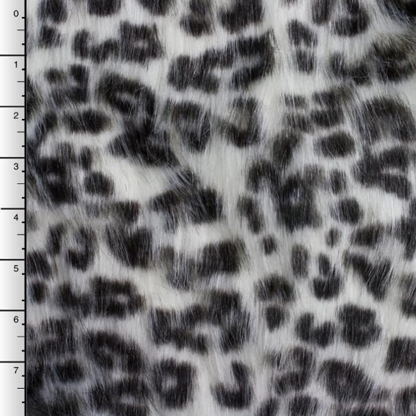 White Snow Leopard Long Pile Faux Fur