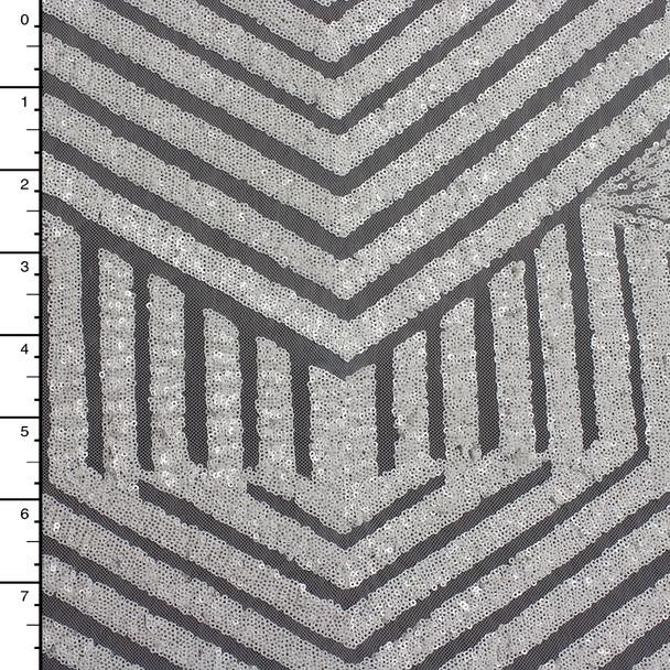 White Geometric Stretch Micro Sequin Fabric