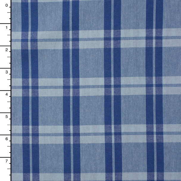 Royal and Light Blue Plaid Cotton Poplin