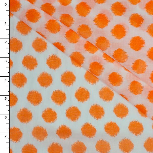 Bright Orange Ikat Polka Dot Print Cotton Voile