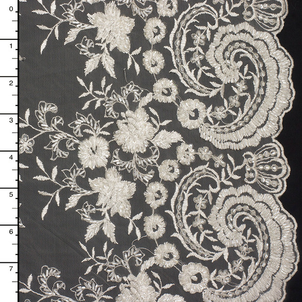 Offwhite Swirling Beaded Bridal Lace