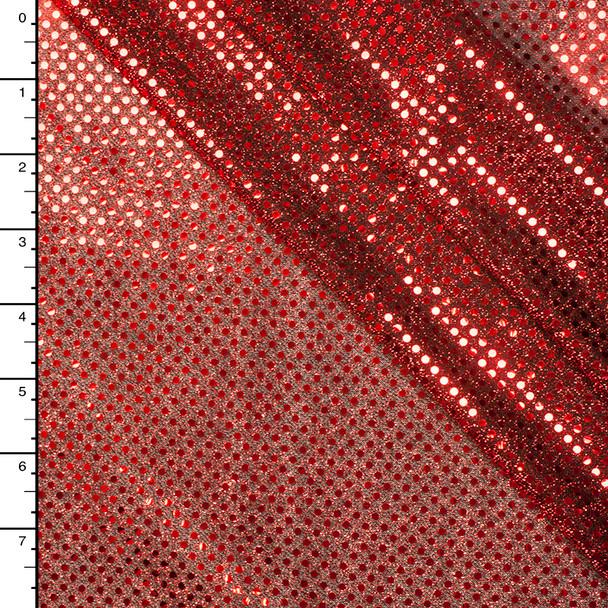 Red on Black Mini Dot Sequin Fabric