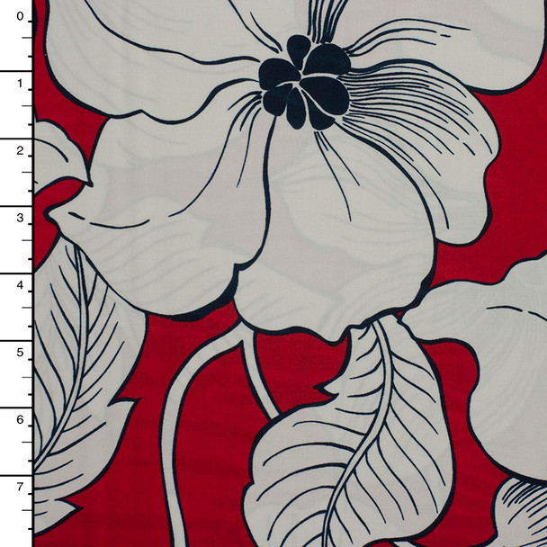 Ivory Flowers on Red 'Surf N' Sand Tropicals' by Robert Kaufman