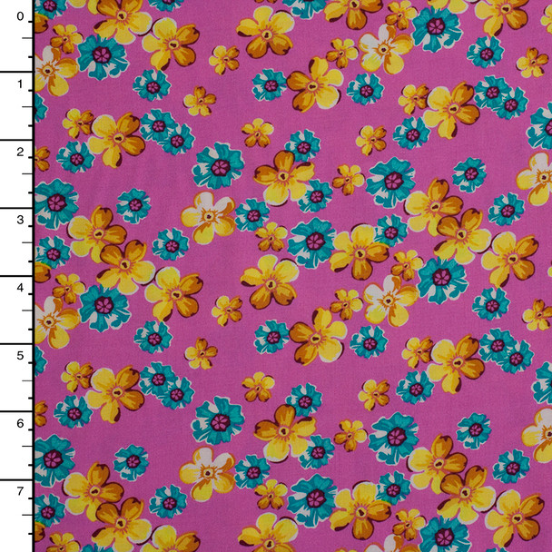Yellow and Turquoise Floral on Pink Rayon Challis
