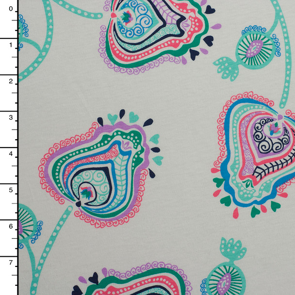 Whimsical Floral Print on White Cotton Jersey
