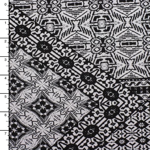 Black andWhite Layered Pattern Tiles Stretch Rayon Jersey Knit