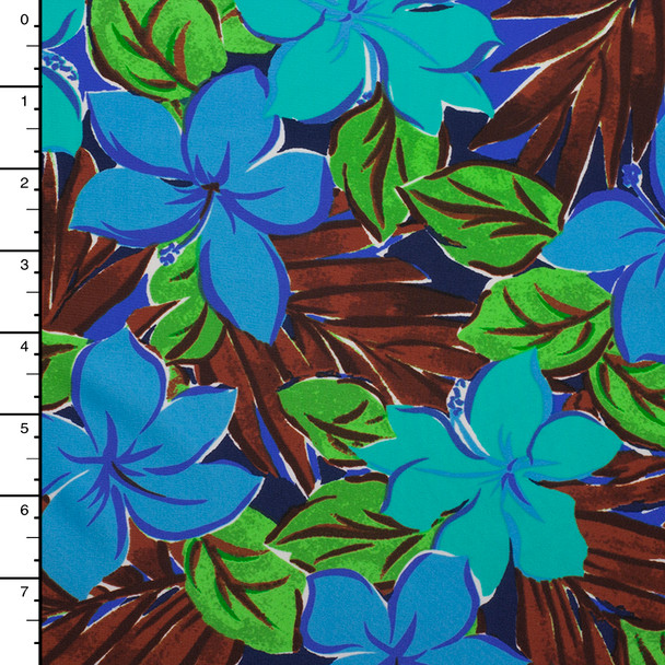 Turquose, BLue,a nd Green Island Floral Midweight Nylon/Lycra