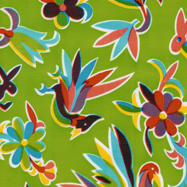 """Aztec"" Lime Green Oilcloth"