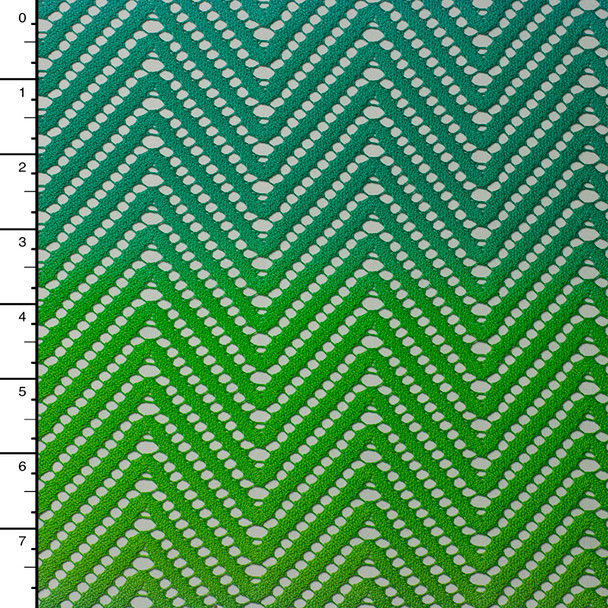 Green, Teal, and Blue Ombre Chevron Lace