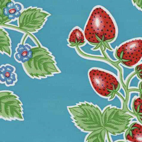 """Forever"" Strawberry Blue Oilcloth"