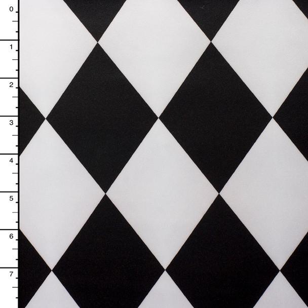 Black and White Harlequin Diamond Peau De Soie