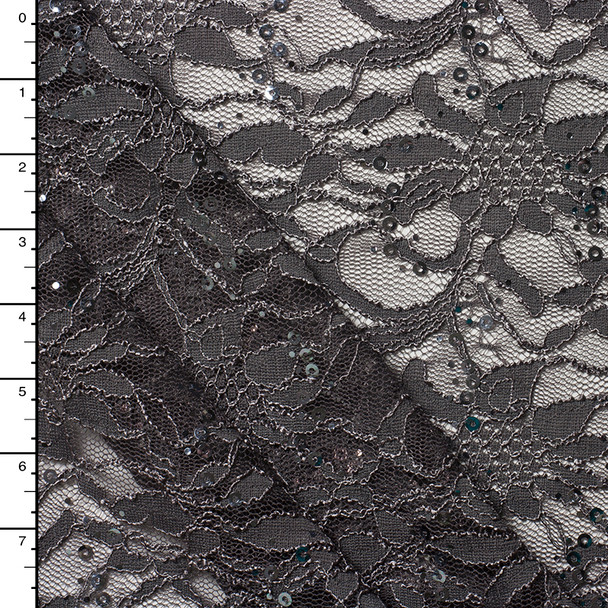 Charcoal Sequined Floral Lace