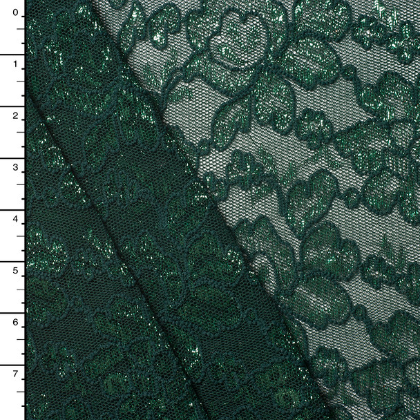 Emerald Green Metallic Reimbroidered Lace