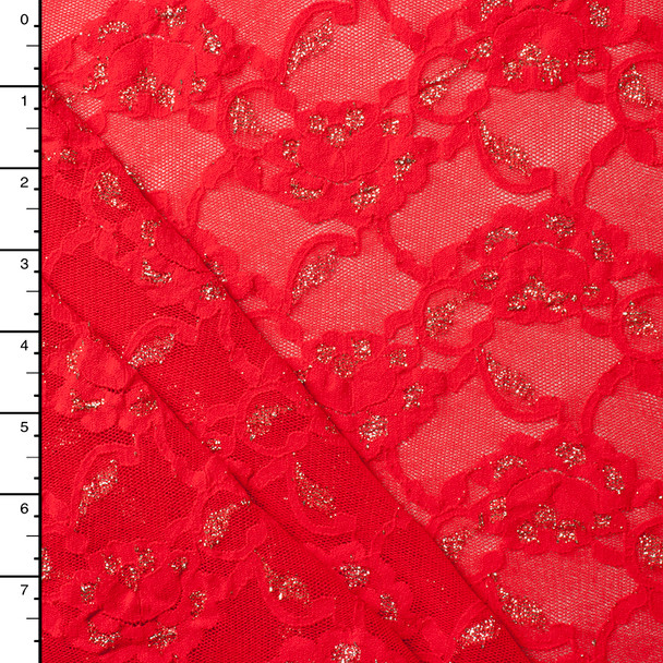 Red and Metallic Gold 4-way Stretch Lace