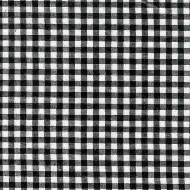 Gingham Plaid Black Oilcloth