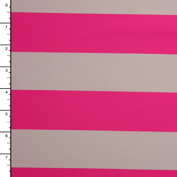 Neon Pink and Ivory Striped 4-Way Stretch Poly/Rayon/Lycra Knit