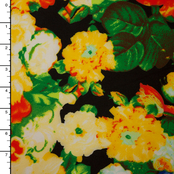 Yellow, Orange, and Green Floral on Black Techno Knit Print
