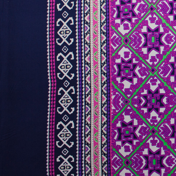 Navy and Purple Tiled Border Print Nylon/Lycra