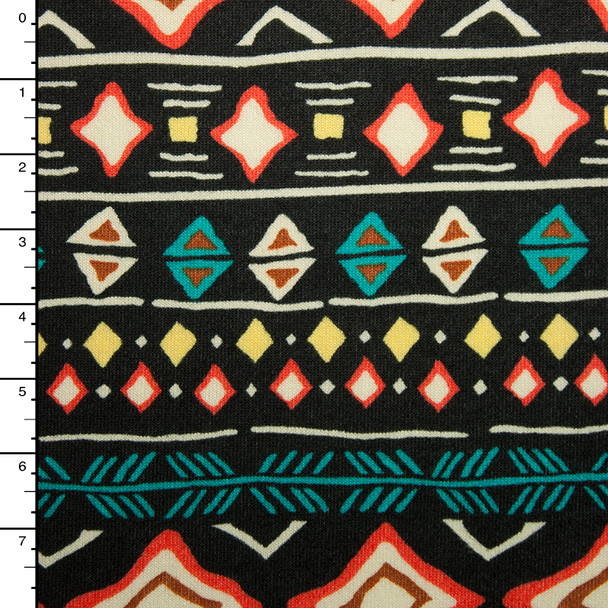 Orange, Teal, Yellow, and Black Tribal Bohemian Stripe Sweater Knit #15382