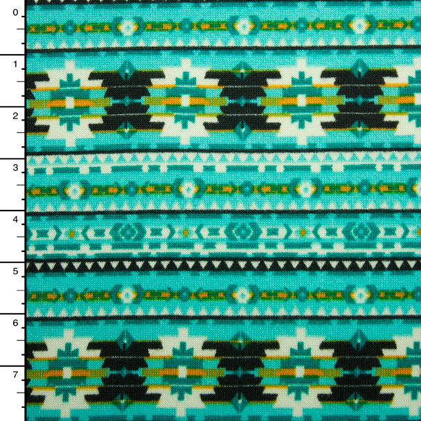 Turquoise, Black, and White Bohemian Tribal Stripe Sweater Knit #15378