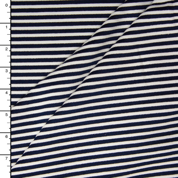Navy and White Textured Stripe 4-way Stretch Heavy Knit