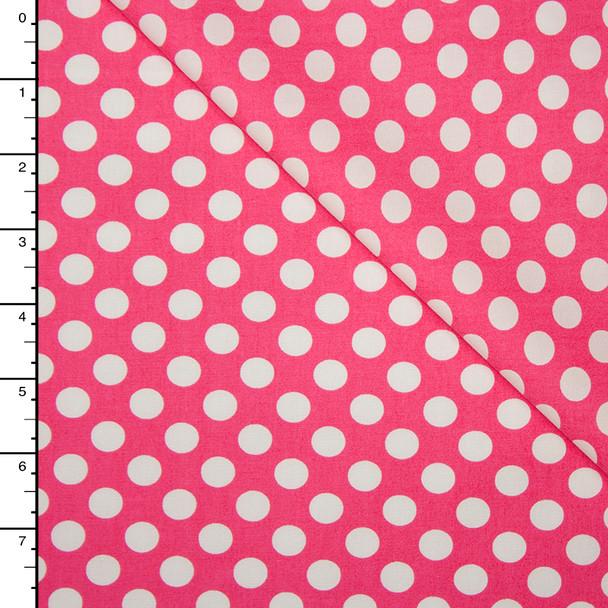 Hot Pink and White Dots Lightweight Cotton Poplin