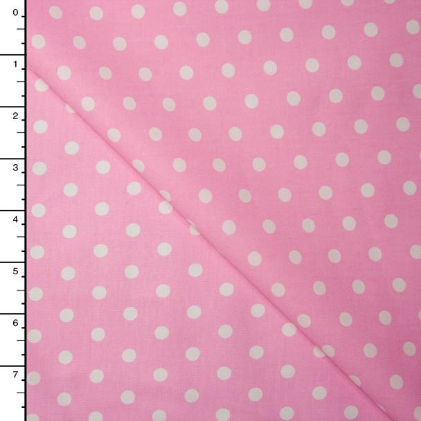 White on Pink Polka Dots Lightweight Cotton Poplin