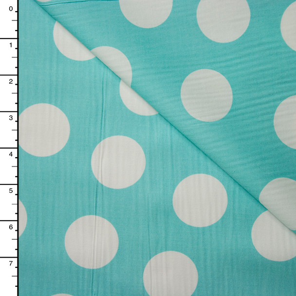 White on Aqua Jumbo Dots Lightweight Cotton Poplin