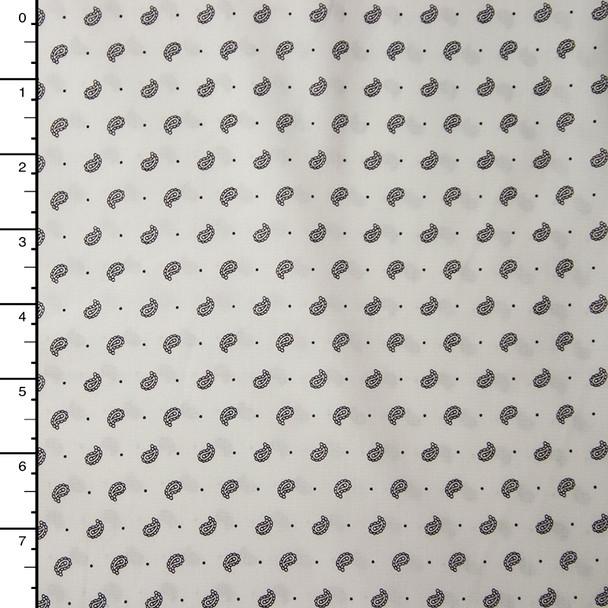 Black on Offwhite Mini Paisley Print Fine Cotton Shirting