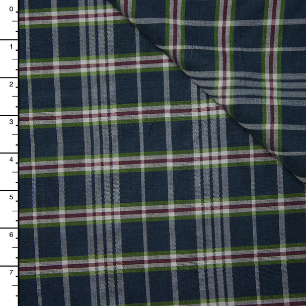 Navy, Olive, White, and Burgundy Plaid Cotton Shirting