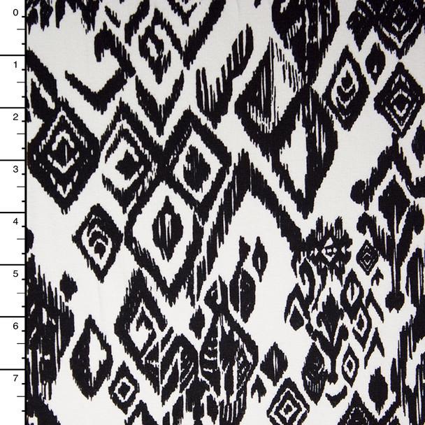 Black Tribal Pattern on White 4-way Stretch Cotton/Lycra