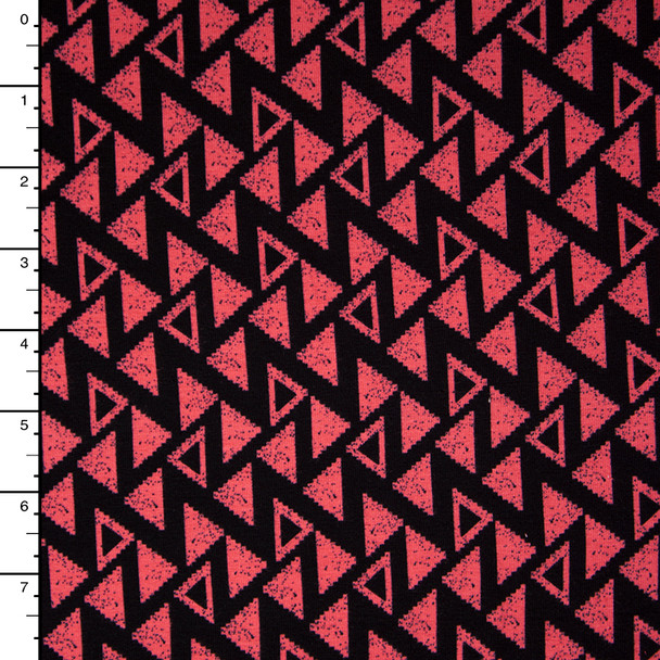 Coral and Black Triangle 4-way Stretch Jersey Knit Print
