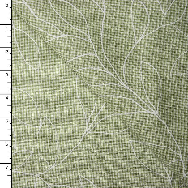 White Leaves on Sage Green Gingham Linen