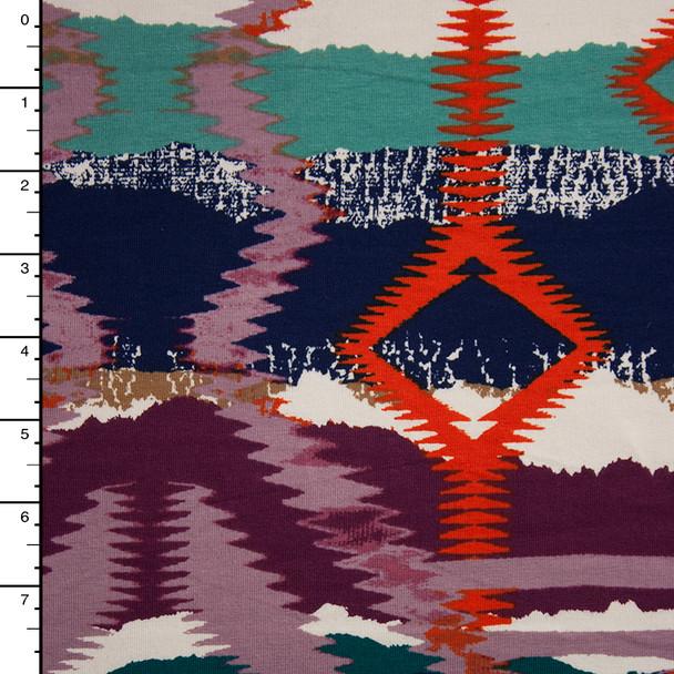 Orange and Mauve Southwestern Style 4-way Stretch Cotton Jersey Knit