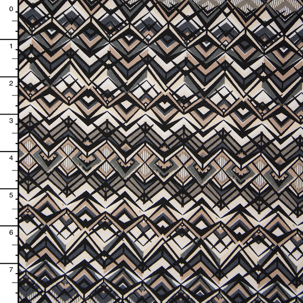 Black, Ivory, Grey, and Tan Geometric Poly/Lycra Print