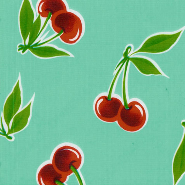 """Stella"" Cherries on Aqua Oilcloth"