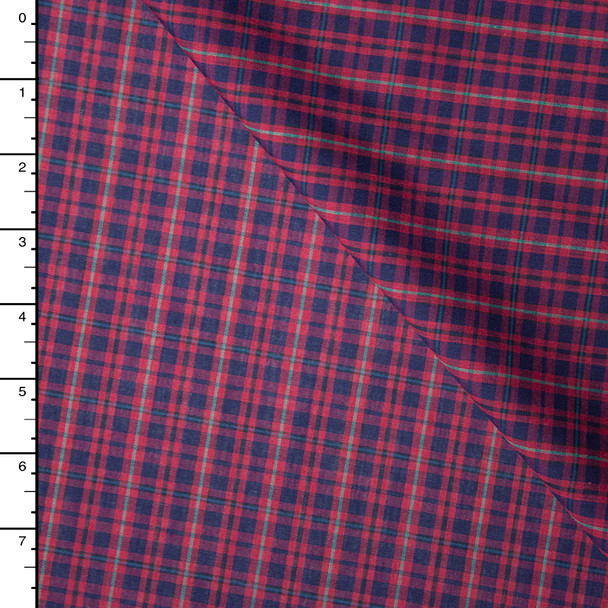 Red, Navy, and Green Tartan Plaid Poly/Cotton Shirting