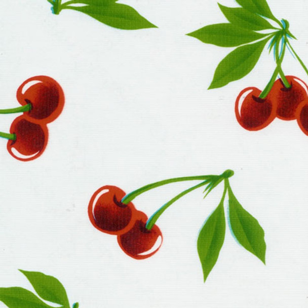 """Stella"" Cherries on White Oilcloth"