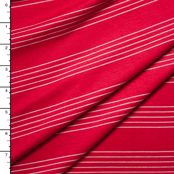 White on Red Stripes Stretch Rayon Jersey Knit Fabric