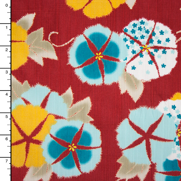 Fine Floral Red Linen Texture Cotton Shirting