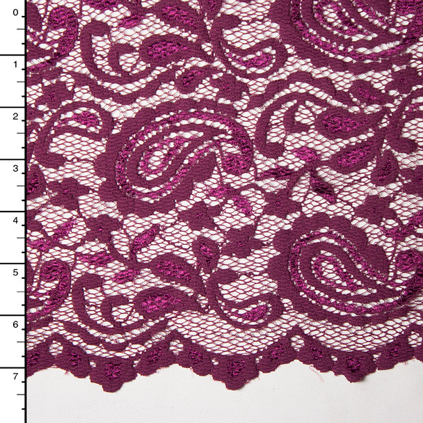 Rich Plum Paisley Floral Stretch Lace