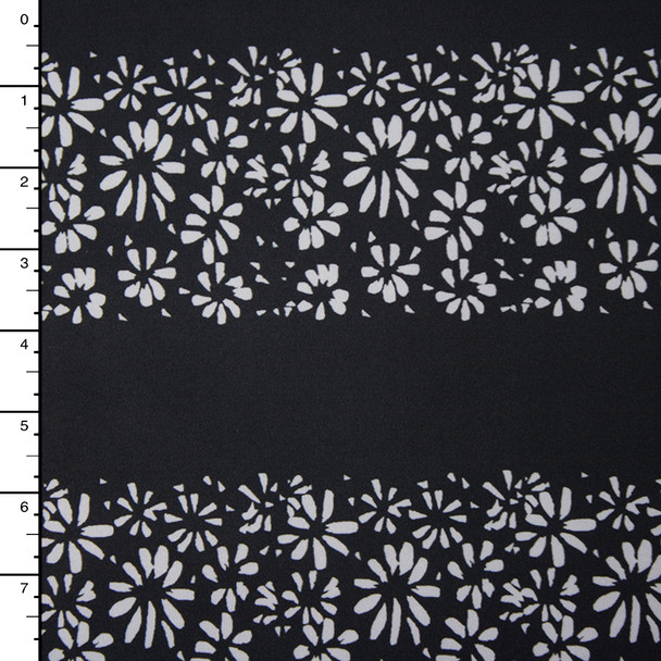 Light Grey Flower Stripe on Black Nylon/Lycra
