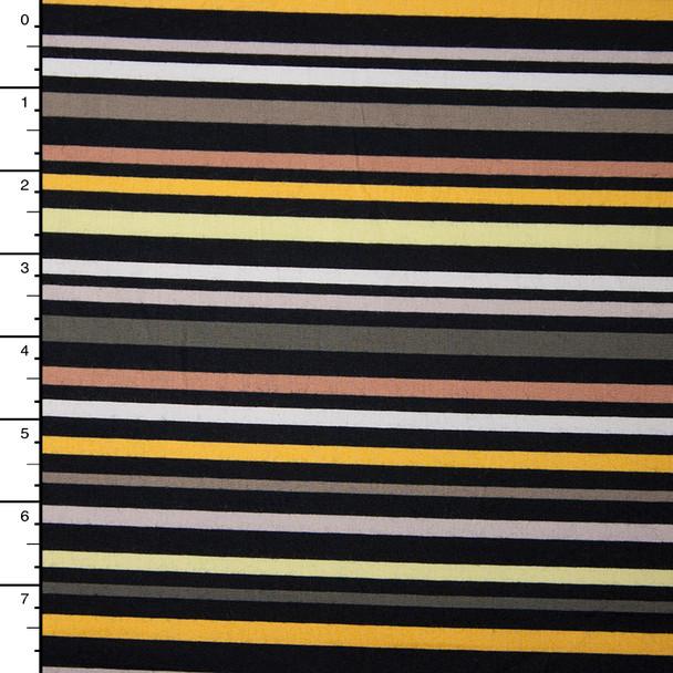 Yellow, Grey, Tan, and Black Stripe Stretch Midweight Poplin