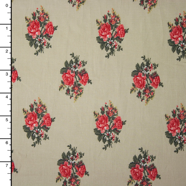 Pink Diamond Roses on Khaki Midweight Stretch Poplin Print