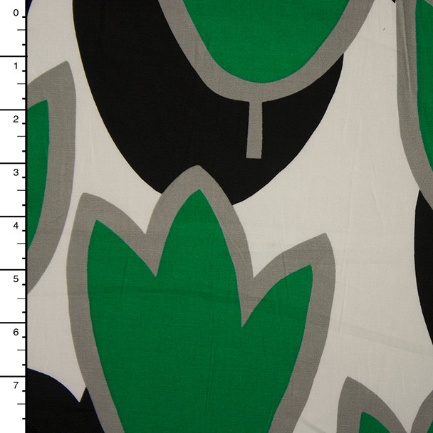 Green and Black Tulips on White Midweight Stretch Poplin